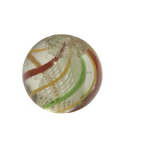 """Vintage White Latticino Red Yellow Green 8 Core Swirls Caged Marble 5/8"""" 16mm"""