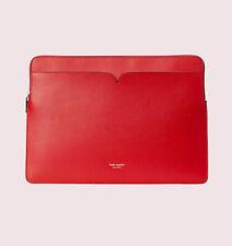 "Kate Spade Laptop Sylvia Slim Sleeve 15"" Case Red or Black Leather"