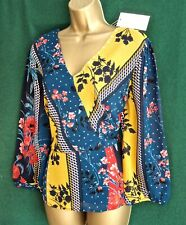 New MONSOON 12-22Teal Mustard PEGGY Patchwork Floral Blouse Boho Day-Evening Top