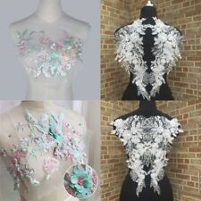 3D Flower Lace Applique Sewing Bridal Wedding Trims Motif Embroidery Crafts DIY