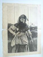 1885 Xilografía: Aldeana de Asturias Dibujo Original de Alfredo Perea