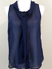 A.N.D. EA WY Blouse Shirt Top Sleeveless Sheer Blue Size XS Extra Small