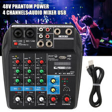 4 Channels Mixer Audio with 48V Phantom Power Mixer Console Bluetooth Record USB