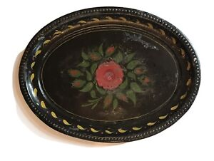 Vintage Hand-Painted Oval Floral Toleware Tray French Country