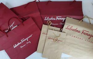 Salvatore Ferragamo Original Designer Maroon Brwon Packaging Gift Paper Bags x 7
