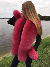 Dark Pink Fox Fur Stole Boa Collar ~63 inch. Saga Furs Tails as Wristbands Scarf