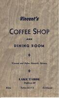 Vintage VINCENT'S COFFEE SHOP & DINING ROOM Menu Bijou Lake Tahoe California