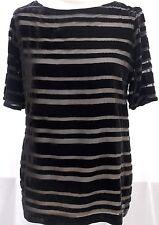Toast silk mix velvet stripe top black BNWT 10 RRP £115