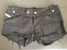 DIESEL Black Stretch Cut Off Low Rise Jeans Shorts Size 29 Fits Approx UK 10
