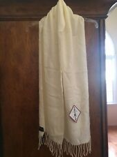 """New Fabulous V. Fraas Ivory Cashmink Scarf-Made in Germany-New with Tags 72""""x13"""""""