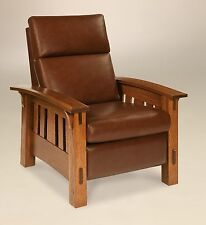 Amish Mission Arts and Crafts Recliner Chair McCoy Solid Wood Leather