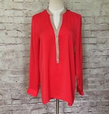 NEW  Willi Smith Women's Red Tan Popover Tunic Blouse Size M Career Long Sleeve