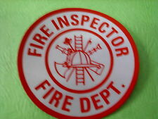 """FIRE INSPECTOR  3"""" CIRCLE  WHITE & RED REFLECTIVE DECAL STICKER"""