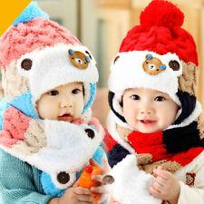 Baby Winter Hat Scarf Set Toddler Kids Crochet Knitted Beanie Cap Neck Warmer