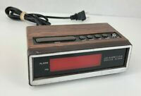 CVS Vintage Retro Electronic Red LED Alarm Clock, Brown Faux-Wood Grain ATC-3035