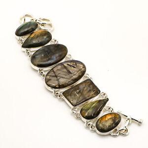 "Labradorite Handmade Gemstone 925 Sterling Silver Bracelet Jewelry 7-7.99"" S2673"