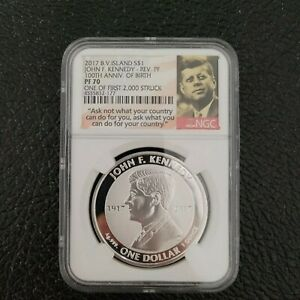 2017 British VI Reverse Proof JFK Kennedy Silver Dollar NGC PF70 100th Anniv
