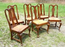 Set Of 6 Vintage Bench Made Mahogany Queen Anne Club Foot Side Chairs