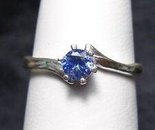 Cornflower Blue SAPPHIRE 4mm Round .925 Sterling Silver Solitaire Ring Size 6