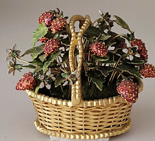 Antique Gold looking Basket with Cloisonne Flowers and Strawberries
