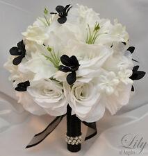 17pcs Wedding Bridal Bouquet Set Decoration Silk Flower ELEGANT BLACK WHITE