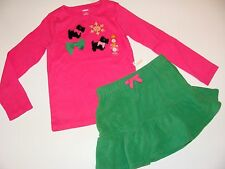 Gymboree Cheery All The Way Girls Size 5 Top Puppy Dog Green Skirt NEW NWT