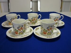 Aynsley Cottage Garden Coffee Set 5,Cups And 5,Saucers, in very good condition