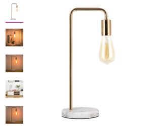 Haitral Edison Industrial Modern Table Reading Lamp with Marble Base - Gold