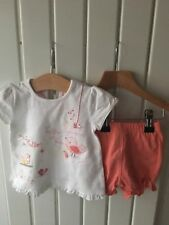 Baby Girl's Clothes 0-3 Months - 2pc Outfit Birds Theme Too & Pull On Shorts
