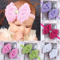 Baby Girls Kids Lace Rose Flower Bow Headband Hairband Head Band Accessories