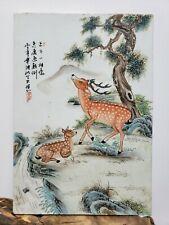 Chinese Old Porcelain Famille Rose Plaque{Deer&Pine}