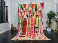 "Vintage Moroccan Boujaad Handmade Rug 5'1""x8'4"" Patchwork Colorful Berber Carpet"