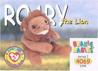 TY Beanie Babies BBOC Card - Series 1 Common - ROARY the Lion - NM/Mint
