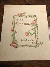 Antique early 1900's EDGARDO RODINA Ex Libris BOOKPLATE litho print