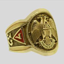 14K Scottish Rite Masonic Ring Solid Yellow Gold Freemason Mens Size 12 UNIQABLE