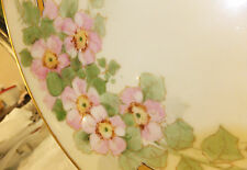 "Thomas Sevres Bavaria handpainted cake plate Apple blossom gold edge 11"" Nice"