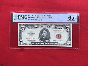 FR-1536* 1963 Series STAR $5 Red Seal US Legal Tender Note *PMG 65 EPQ GEM UNC*