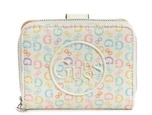 NEW GUESS Women's Clayton Multicolor Pastel Rainbow Logo Zip Around Small Wallet