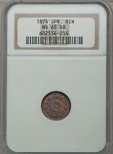 JAPAN MEIJI YR. 7 (1874) 1 RIN COIN GEM UNCIRCULATED CERTIFIED NGC MS65-RB
