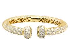 Unisex Yellow Gold Finish Sterling Silver 3D Iced Lab Diamond Cuff Bracelet 10MM
