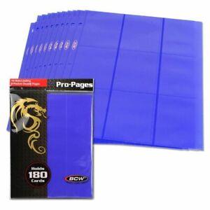 100 (10 ct) BCW GAMING SIDE LOADING 18-POCKET PRO BINDER PAGES - MTG - BLUE