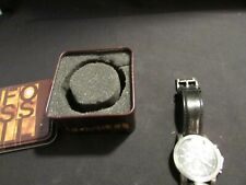 VINTAGE FOSSIL LEATHER STRAP MENS WATCH WITH BOX NOT WORKING REPAIR OR PARTS