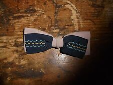 Blue waves embroidered clip on men's bow tie Ormond NYC FAIR used costume retro