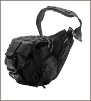 EXTREME TACTICAL MESSENGER BAG - BLACK 600 DENIER FABRIC MATERIAL