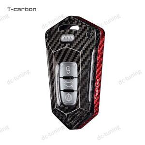 For Audi A3 A4 A5 A6 Q3 Q5 Smart Key Black&Red Carbon Fiber Key Fob Case Cover