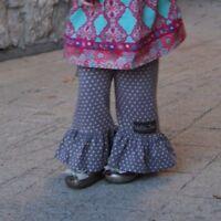 New MATILDA JANE Friends Forever SONIA Big Ruffle Pants Gry/Pink Polka Dots SZ 2