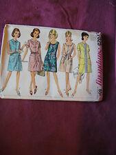 Vintage Simplicity Pattern 7025 Miss Dress 1967 Sz 16 Bust 36 A-Line Front Zip