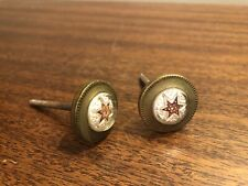 TWO ANTIQUE DECORATIVE BRASS PLATED KNOB SCREW DRAWER PULLS 6 POINT STAR RARE