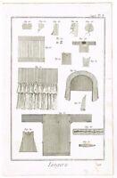ANTIQUE PRINT VINTAGE 1777 COPPER PLATE DIDEROT SEAMSTRESS FASHION BERNARD DIREX