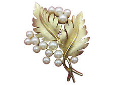 Crown Trifari Vintage Brooch Pin Faux Pearl Gold Leaf Textured Designer 969g